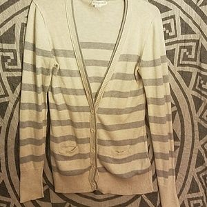 Cream and gray stripped cardigan Aeropostale
